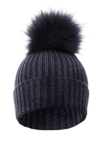 Navy Wool and Silk Blue Fox Fur Bobble Hat  FFDT19A-07