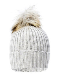 Light Grey Wool and Silk Fox Fur Bobble Hat  FFDT19A-03