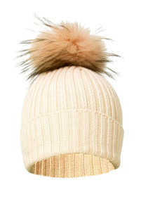 Cream Wool and Silk Fox Fur Bobble Hat