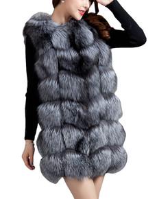 Silver Fox Check Fox Fur Gilet WAFF07