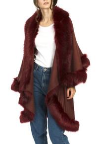 Faux Fur Wrap in Burgundy KFP23A-08