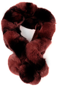Dark Pink and Brown Bellringer Fur Scarf RFS12A-08