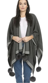 Cashmere Pom Pom Wrap in Mid Grey