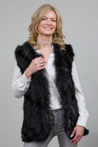 Black Rabbit and Fox Fur Gilet  RF4079A-01