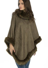 Faux Suede and Faux Fur Poncho in Forest Green