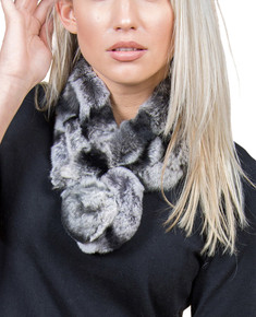 Black with Grey tips Bellringer Fur Scarf RFS12A-03
