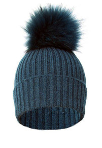 Teal and Silk Blue Fox Fur Bobble Hat FFDT19A-07M