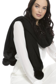 Cashmere and Silk Scarf with Faux Pom Poms in Black WPMF15A-01