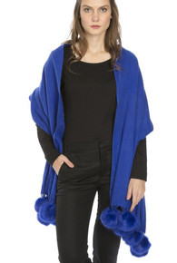 Cashmere and Silk Scarf with Faux Pom Poms in Royal Blue WPMF15A-07N