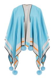 Cashmere Real Fur Pom Pom Wrap in Blue