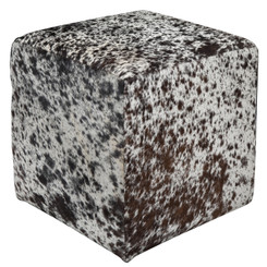 Beautiful Black, Dark Brown and White Speckled Cowhide Cube