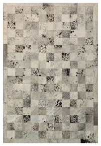 Grey Patchwork Cowhide Rug