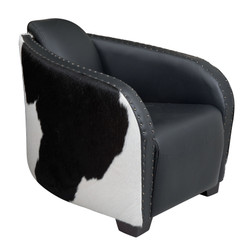 Black and White Cowhide Hurlingham Club Chair