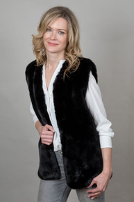 Mid Faux Fur Gilet in Black