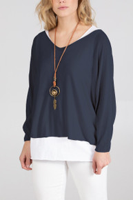 Double Layer Jersey Top with Necklace in Navy