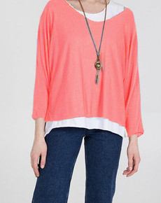 Double Layer Jersey Top with Necklace in Coral