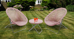 Foldable Rattan Garden Furniture Set in Copper