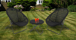 Foldable Rattan Garden Furniture Set in Black