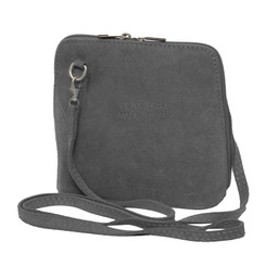 Suede Sholder Bag in Light Grey
