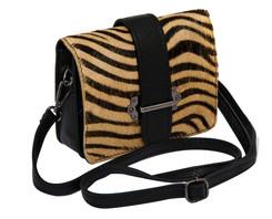 Cowhide Sholder Bag in Zebra
