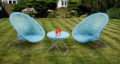 Foldable Rattan Garden Furniture Set in Aqua