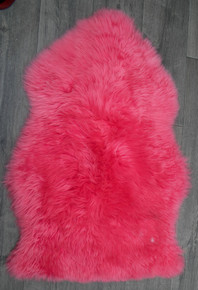 Flamingo Pink Single Sheepskin Rug