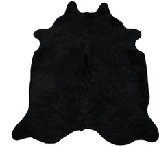 Pure Black Cowhide Rug