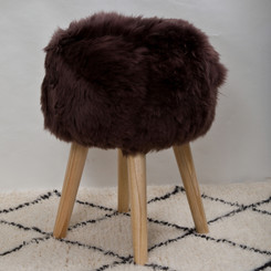 Chocolate Sheepskin Stool