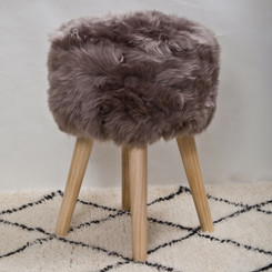 Taupe Sheepskin Stool