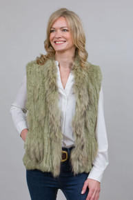 Short Lime Green Rabbit and Fox Fur Gilet  FF46A-G07