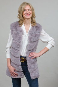 Long Lux Faux Fur Gilet in Grey LM6997-03