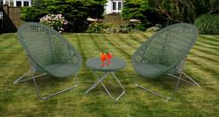 Foldable Rattan Garden Furniture Set in Green