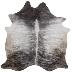 Grey and white brindle cowhide rug