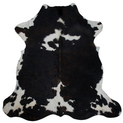 dark brown tricolour cowhide rug
