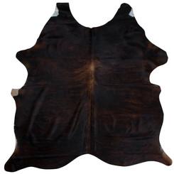Dark Brown And White Brindle Cowhide Rug