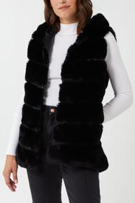 Hooded Pelted Faux Fur Gilet in Black