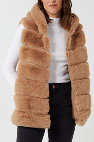 Hooded Pelted Faux Fur Gilet in Camel