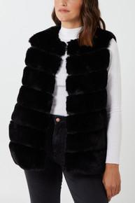 Luxury Pelted Faux Fur Gilet In Black