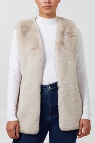 Luxury Faux Fur Gilet In Stone