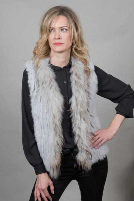 Short Light Grey Fur Gilet
