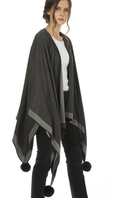 Cashmere Pom Pom Wrap in Dark Grey