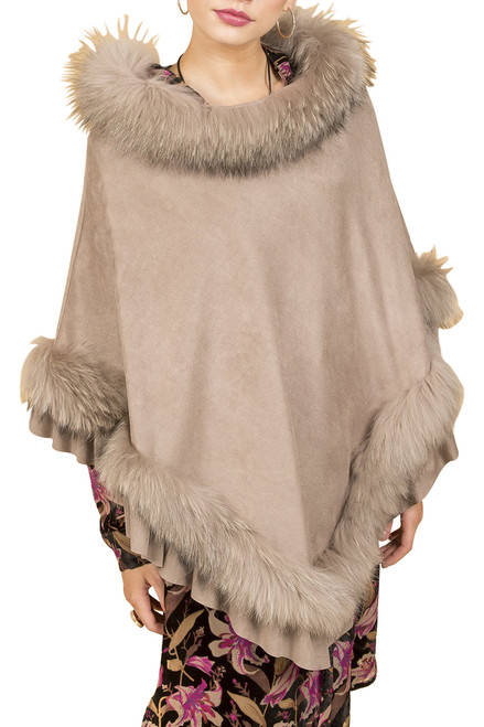 Fox Fur and Faux Suede Poncho in Mocha