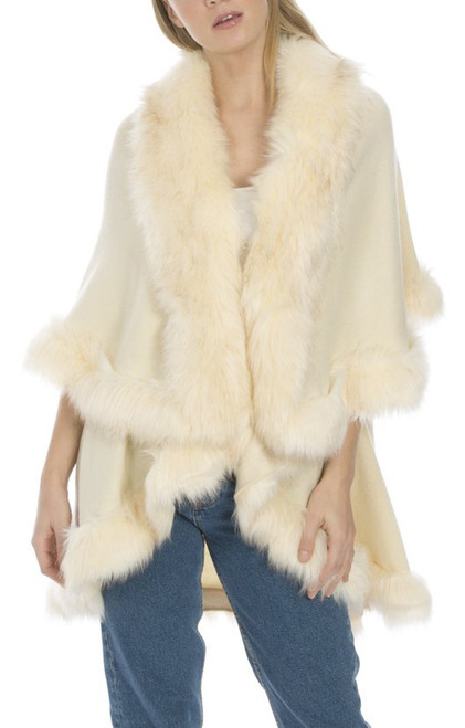 Faux Fur Wrap in Cream