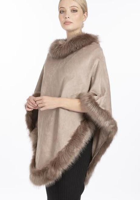 Faux Suede and Faux Fur Poncho in Light Mocha