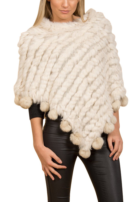 White Coney Fur Poncho (with pom poms) RFD1019A-02