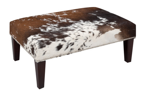 Tri Colour Cowhide Footstool