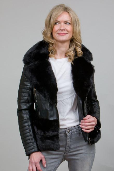 Luxury Faux Fur Trim Biker Jacket in Black NL7101-01