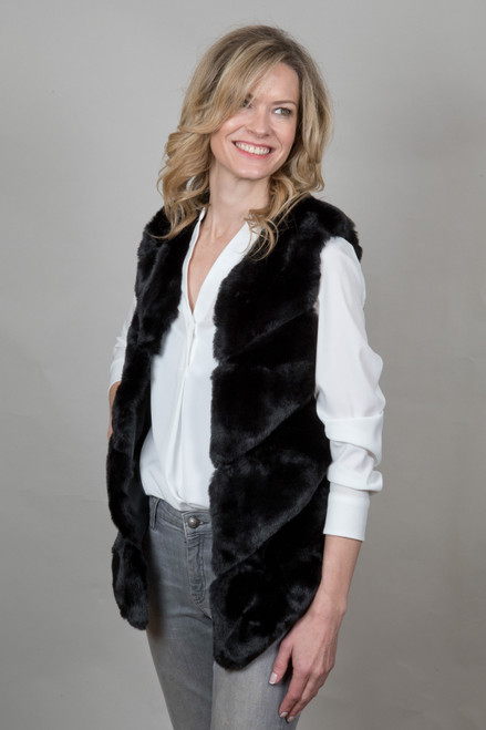 Luxury Faux Fur Gilet in Black NL5140