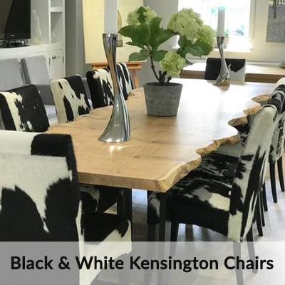 Black and White Cowhide Kensington Dining Chairs