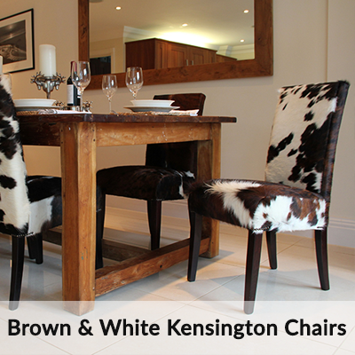 Brown and White Cowhide Kensington Dining Chairs